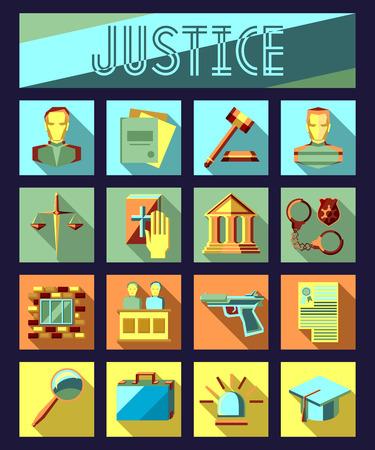jurado: Conjunto de derecho y justicia iconos planos con abogado, jurado de una corte c�rcel. Infograf�a de vector. Vectores