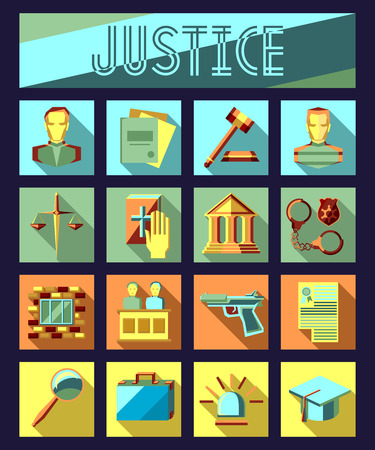 jury: Set of law and justice flat icons with lawyer, jail court jury. Vector ilustration.