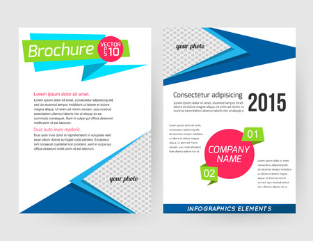 Corporate business stationery brochure template with infographics elements and place for photo. Abstract geometric background for flyer, report, presentation or business document with paper banners. Vector illustration.