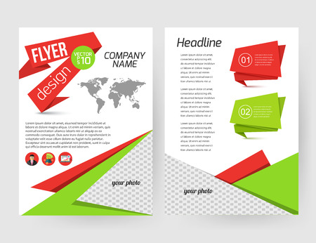 green backgrounds: Corporate business stationery brochure template with infographics elements and place for photo. Abstract geometric background for flyer, report, presentation or business document with paper banners. Vector illustration.
