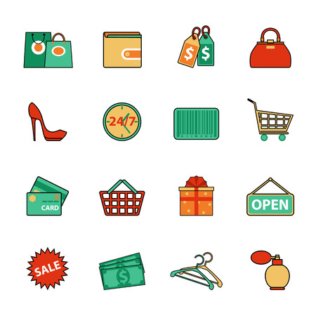 for design: Set of shopping and sale line icons. Flat style design. Consumer items for discount offers, e-commerce, shopping for women, payment methods and other commercial goals. Vector elements for shopping infographics and logo design.