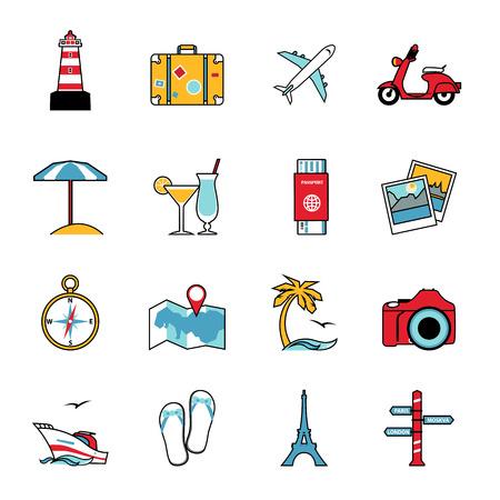 turismo: Conjunto de viajes y turismo de línea de iconos. Diseño de estilo Flat. Los viajes en avión, camping, turismo agua y otros símbolos de actividades de ocio para la infografía de planificación de vacaciones o de diseño del logotipo. Ilustración del vector.