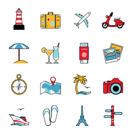 tourism: Set of travel and tourism line icons. Flat style design. Air travel, camping, water tourism and other leisure activity symbols for holiday planning infographics and logo design. Vector illustration.