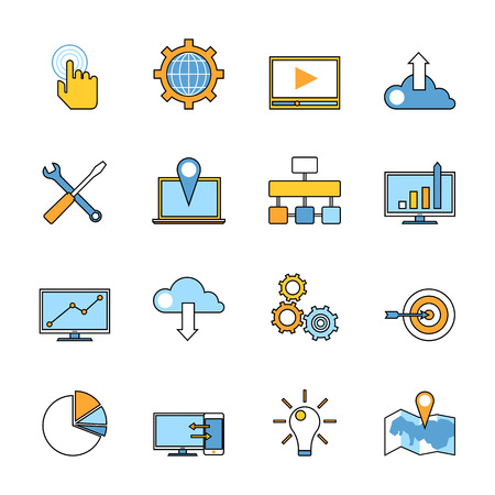 Set of responsive web development line icons. Flat style design. Web programming process and mobile app UI making items for SEO infographics and logo design. Vector illustration. Ilustração