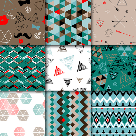 geometric style: Set of seamless colorful retro patterns. Hipster geometric style design. Vector illustration.