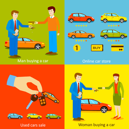 dealership: Man buying a car, Woman buying a car, Online car store, Used cars sale vector illustrations. Flat style design. Illustration