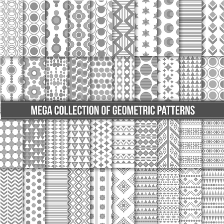 retro patterns: Big collection of seamless monochrome retro patterns. Hipster geometric style design. Vector illustration.