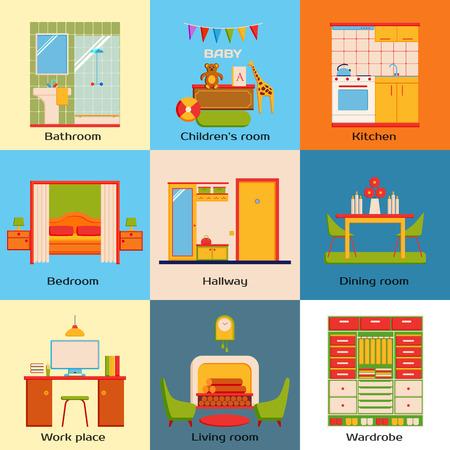 Conjunto de habitaciones de diseño de casas interiores. Espacio plano de diseño de trabajo, dormitorio, cocina, salón, cuarto de niños, cuarto de baño, comedor, pasillo y vestidor. Ilustración del vector.