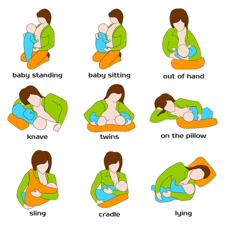breast: Poses for breastfeeding. Woman breastfeeding a child in different poses. Baby standing, sling, twins, on the pillow, baby sitting, out of hand. Woman breastfeeding twins. Vector illustration.