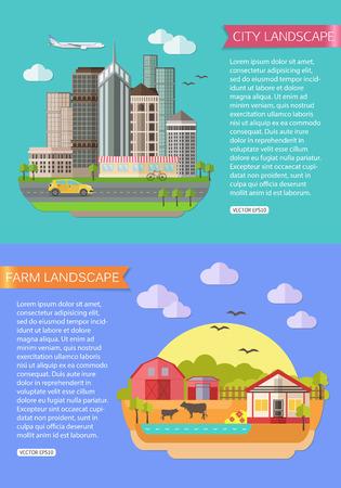animales de granja: Ilustraci�n del paisaje urbano con la carretera, los edificios altos rascacielos, coche, bicicleta, avi�n. Ilustraci�n del paisaje agr�cola con campos, granja, estanque, animales de granja. Dise�o de estilo Flat. Ilustraci�n vectorial Vectores