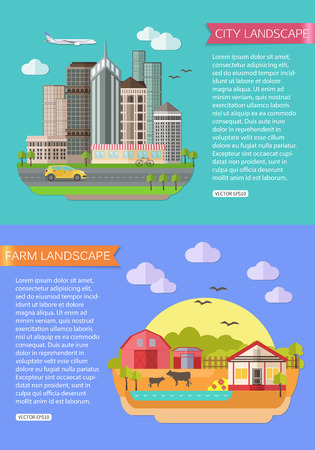 farm animals: Urban Landscape illustration with road, tall buildings, skyscrapers, car, bicycle, plane. Farm Landscape illustration with fields, farmhouse, pond, farm animals. Flat style design. Vector illustration