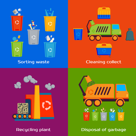 sorting: Concept of cleaning, sorting, processing and recycling of garbage. Vector illustration. Illustration