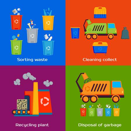 reciclar: Concepto de limpieza, clasificación, tratamiento y reciclaje de basura. Ilustración del vector.