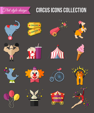 mobile apps: Circus entertainment  icons set for infographics, presentation templates, web and mobile apps. Flat style design. Vector illustration.