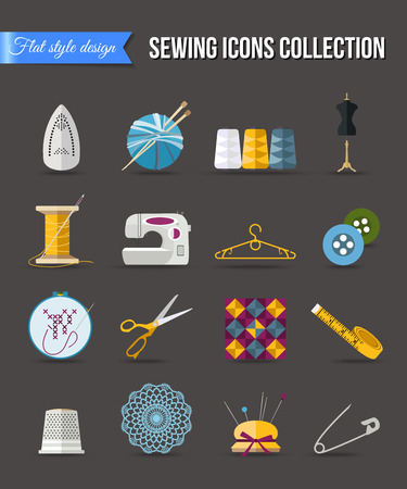 sewing: Handmade and sewing icons set. Flat style design with long shadows. Vector illustration.
