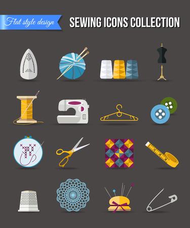 maquinas de coser: Hecho a mano y costura iconos conjunto. Diseño de estilo plano con largas sombras. Ilustración del vector.