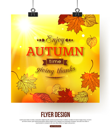 photorealistic: Autumn flyer with shining foliage. Autumn sale, autumn leaves,  autumn time.   Photorealistic design for poster, placard, brochure, presentation. Vector illustration.