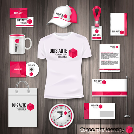 identity: Corporate identity business photorealistic design template. Classic pink stationery template design. Watch, T-shirt, cap, package and Documentation for business.