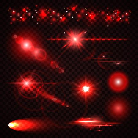 luz roja: Conjunto de rojo Luz efectos, proyectores, flash, las estrellas y las partículas para su diseño. Ilustración vectorial