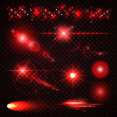 red light: Set of red Light effects, spotlights, flash, stars and particles for your design. Vector illustration