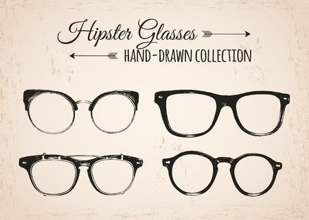 Hipster fashion vintage elements hand-drawn collection. Hipster eyeglasses. Vector illustration.