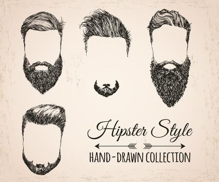 流行に敏感なファッションのヴィンテージの要素手描きコレクション。流行に敏感な髪、ひげ、髭。ベクトルの図。  イラスト・ベクター素材