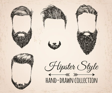 Hipster fashion vintage elements hand-drawn collection. Hipster hair, beards, mustaches. Vector illustration.