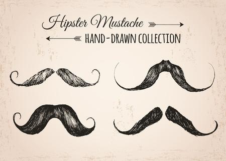 Elementos de la moda del inconformista de la vendimia a mano dibujada colección. Bigotes Hipster. Ilustración del vector. Ilustración de vector