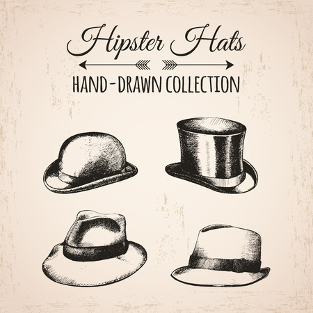 bowler hats: Hipster fashion vintage elements hand-drawn mega collection. Hipster hats,  bowler, fedoras. Vector illustration. Illustration