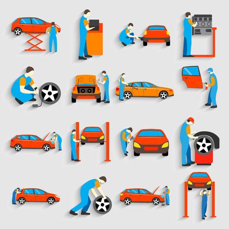 オート メカニック車サービスの修理やメンテナンス作業アイコンのセットです。修理車を男します。フラット スタイルのデザイン。ベクトルの図。
