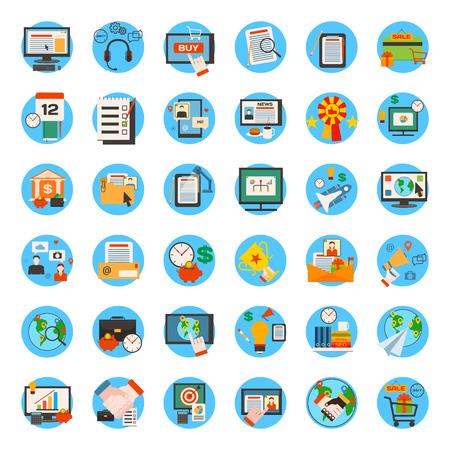 Mega collectie van business, marketing, kantoor en SEO optimalisatie iconen. Vlakke stijl design. Vector illustratie. Stock Illustratie