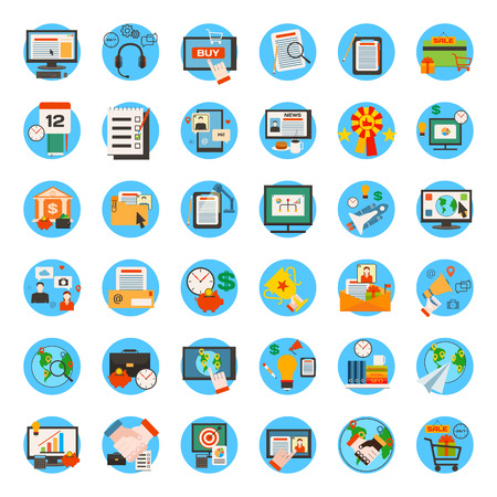 Mega collection of business, marketing, office and seo optimisation icons. Flat style design. Vector illustration. Vettoriali