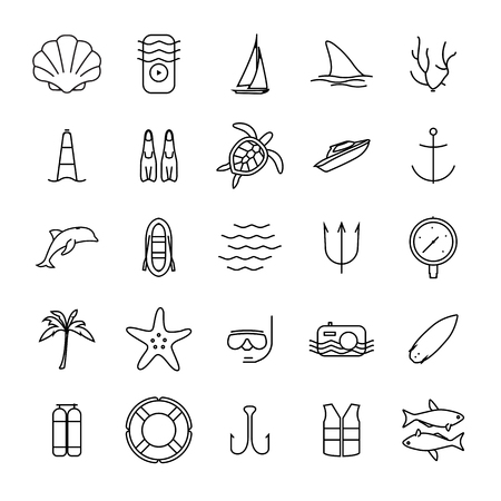 wind surfing: Diving and water activities icons outline icons set. Wind surfing, pool, swimming, surfboarding, kayak, snorkeling, fishing icons. Modern minimalistic flat style design. Vector illustration. Illustration