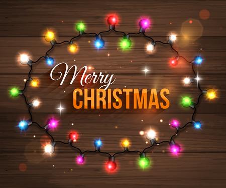 greeting card vector: Colorful christmas light bulbs for celebratory design. Wooden background. Shining Christmas background with blurred bokeh lights and place for text. Christmas greeting card. Vector illustration. Illustration