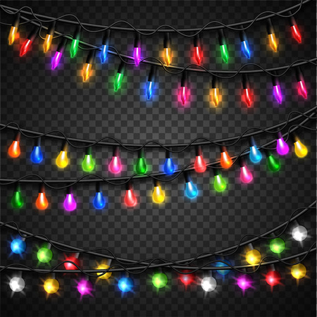 Colorful christmas transparent light bulbs collection for celebratory design. Shining Christmas background with blurred bokeh lights and place for text. Vector illustration. Ilustração
