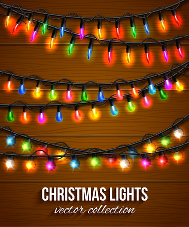 christmas light bulbs: Colorful christmas light bulbs collection for celebratory design over wooden background. Shining Christmas background with blurred bokeh lights and place for text. Vector illustration. Illustration