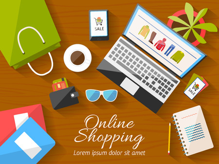 Online shopping concept desktop with computer, wooden table, shopping bag, mobile phone, notebook, flower, sunglusses, wallet, cup of coffee, credit cards, coupons. Vector illustration. Ilustração
