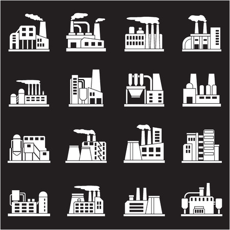oil and gas: Set of industrial manufactory buildings icons set. Plant and factory, power and smoke, oil and energy, nuclear manufacturing station. Vector illustration