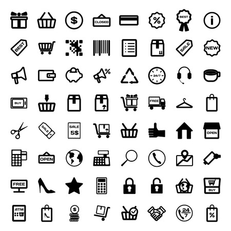 business support: Mega collection of outline shopping icons. Online shopping. Vector illustration.