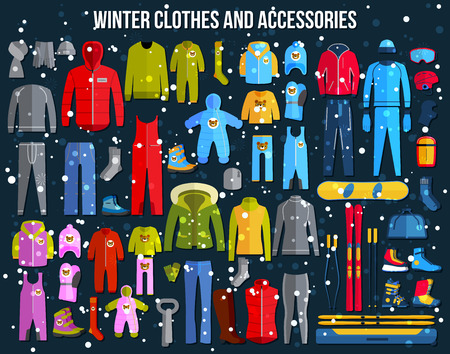 clothes: Big collection of cozy winter clothes and winter sport games accessories for women, men and children. Skiing, snowboard, boots, glasses. Flat style design icons set. Vector illustration.