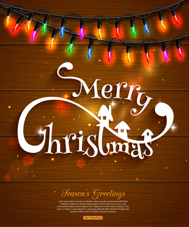 typographical: Merry Christmas typographical background and colorful christmas light bulbs collection for celebratory design over wooden background. Shining Christmas background with blurred bokeh lights and place for text. Vector illustration. Illustration