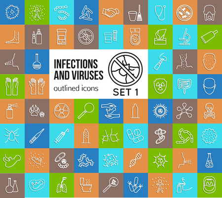 Mega collection of outline infections and viruses icons. Health protection, allergy, medicine, flu, bacteria. Vector illustration.