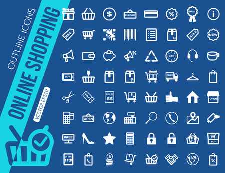 sale icons: Mega collection of outline shopping icons. Online shopping, Sale, Credit card, Payment system, Delivery. Vector illustration. Illustration