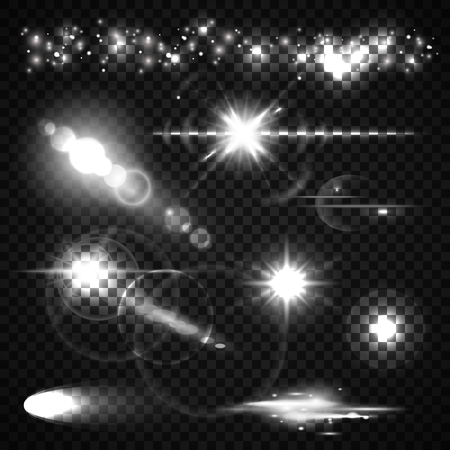 Set of Light effects, spotlights, flash, stars and particles for your design. Vector illustration Vettoriali