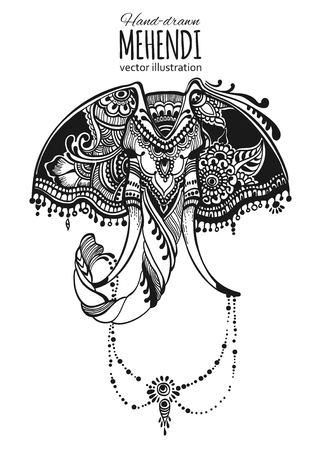 mehendi: Hand-drawn mehendi elephant.  Ethnic african, indian, totem tatoo design. Vector illustration. Illustration