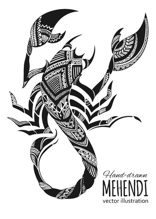 portrait: Hand-drawn mehendi scorpion.  Ethnic african, indian, totem tatoo design. Vector illustration.