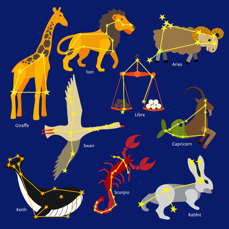 lion vector: Constellations of the solar system. Set of constellations signs of giraffe, lion, libra, aries, capricorn, swan, scorpio, rabbit, whale. Flat style design. Vector illustration.