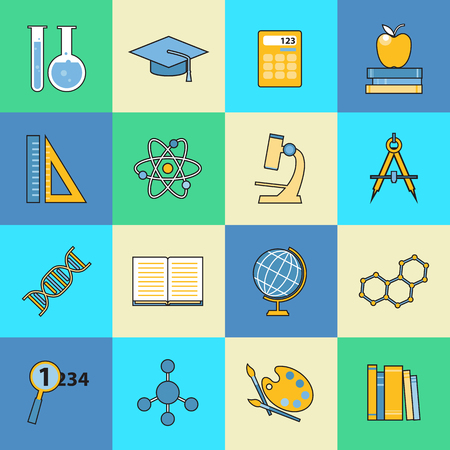 science education: Set of education and learning line icons. Flat style design. School and college items, educational equipment for infographics and logo design. Vector illustration.