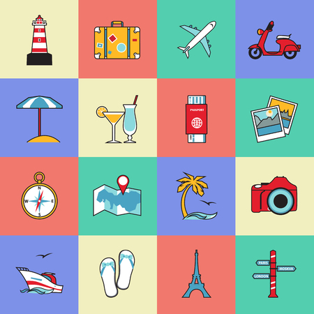 air travel: Set of travel and tourism line icons. Flat style design. Air travel, camping, water tourism and other leisure activity symbols for holiday planning infographics and logo design. Vector illustration.