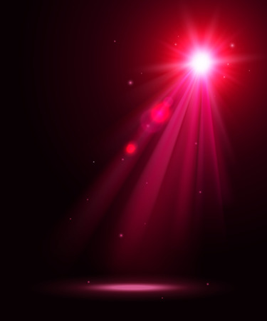 spot lights: Abstract disco background with pink spot lights and bright rays.